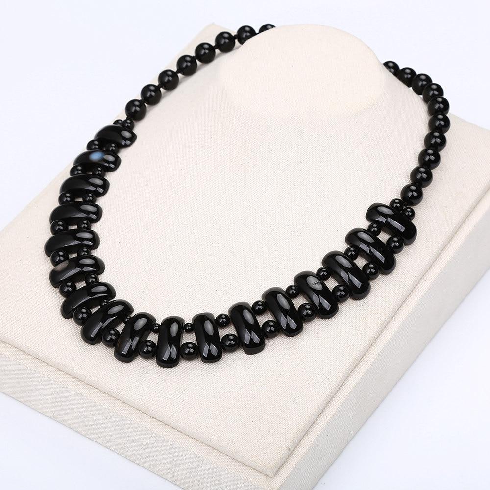Obsidian Black Agate Necklace Black Crystal Fashion Women Bead Chain Popular Classic Pendant Exquisite Handmade Jewelry Amethyst black agate bead bracelet 17cm