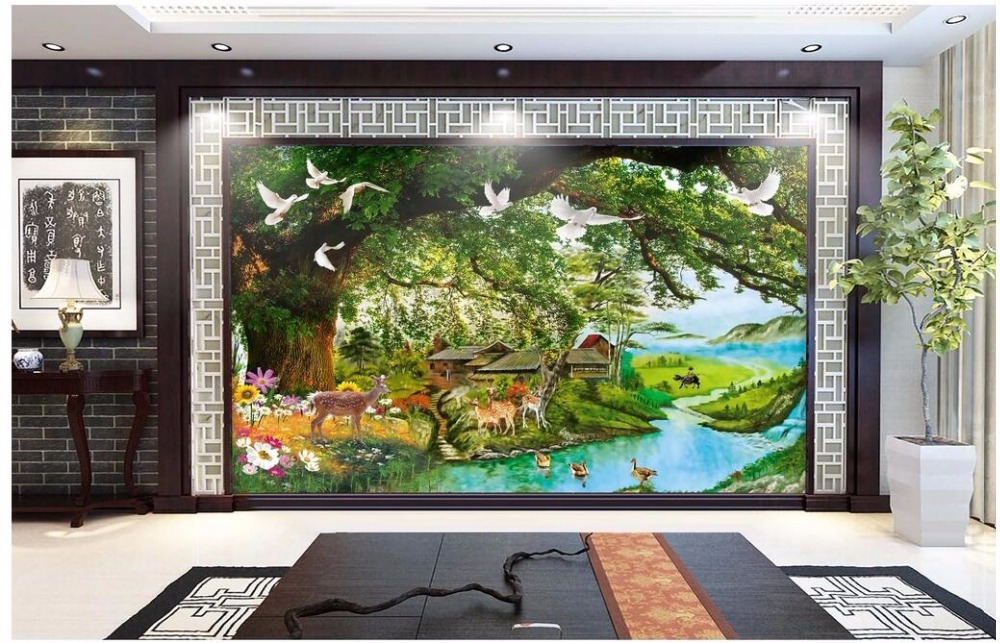 WDBH custom mural 3d photo wallpaper on the wall Tree plum deer dream forest landscape 3d wall murals wallpaper for living room wdbh custom mural 3d photo wallpaper gym sexy black and white photo tv background wall 3d wall murals wallpaper for living room