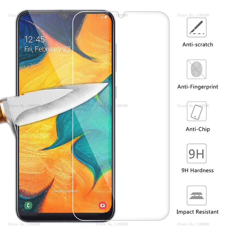 Tempered <font><b>Glass</b></font> For <font><b>Samsung</b></font> <font><b>Galaxy</b></font> A30 A50 Screen Protector 9H Safety Protective Film On A 30 50 A70 A40 A60 <font><b>M20</b></font> M30 A10 A51 A71 image