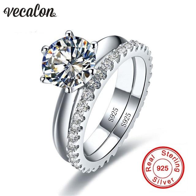 Vecalon Fine Jewelry 925 Sterling Silver Infinity Ring Set 5A Zircon Cz  Diamonique Engagement Wedding Band