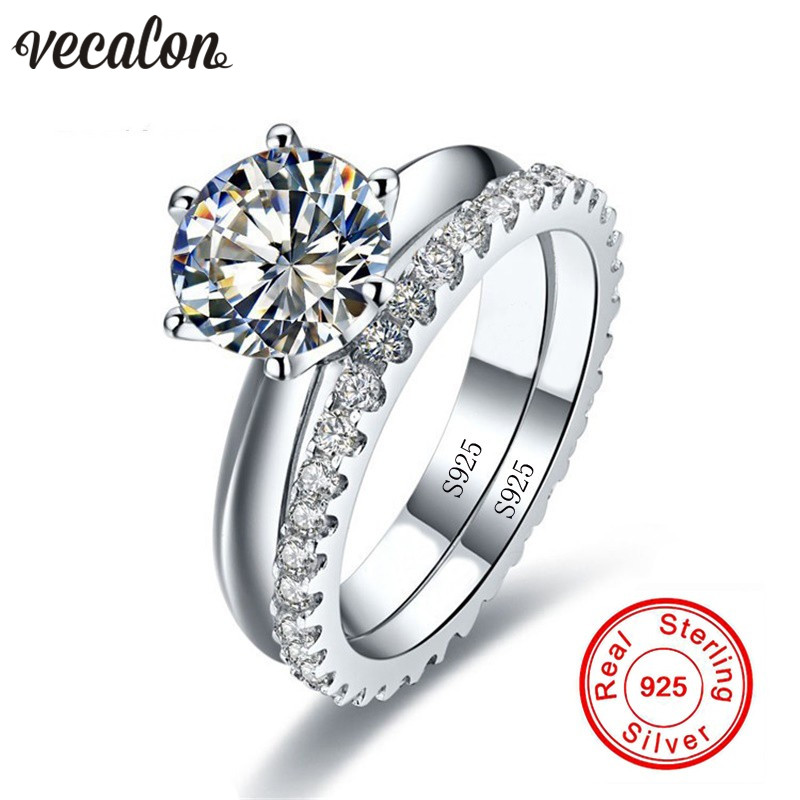 Vecalon Fine Jewelry 925 Sterling Silver Infinity ring set 5A Zircon Cz Diamonique Engagement wedding Band rings for women