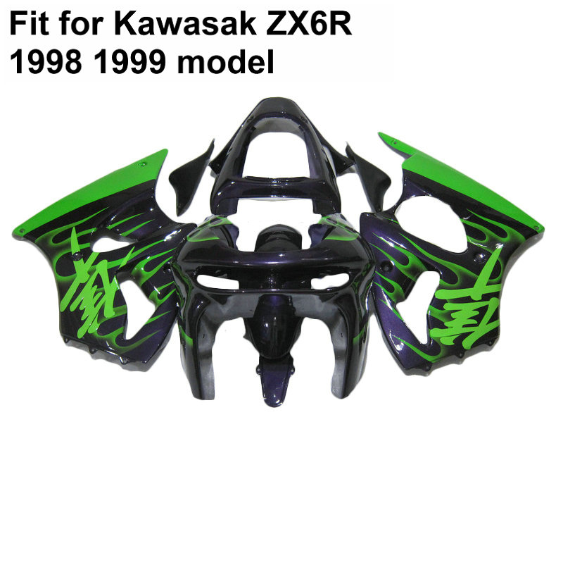 Free 7 gifts fairing kit for kawasaki ninja zx6r 98 99 green flames black motorcycle fairings set zx6