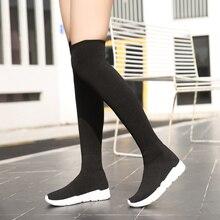 Женские сапоги-чулки выше колена; обувь на платформе; коллекция года; эластичная обувь на плоской подошве с низким каблуком; черные модные женские носки