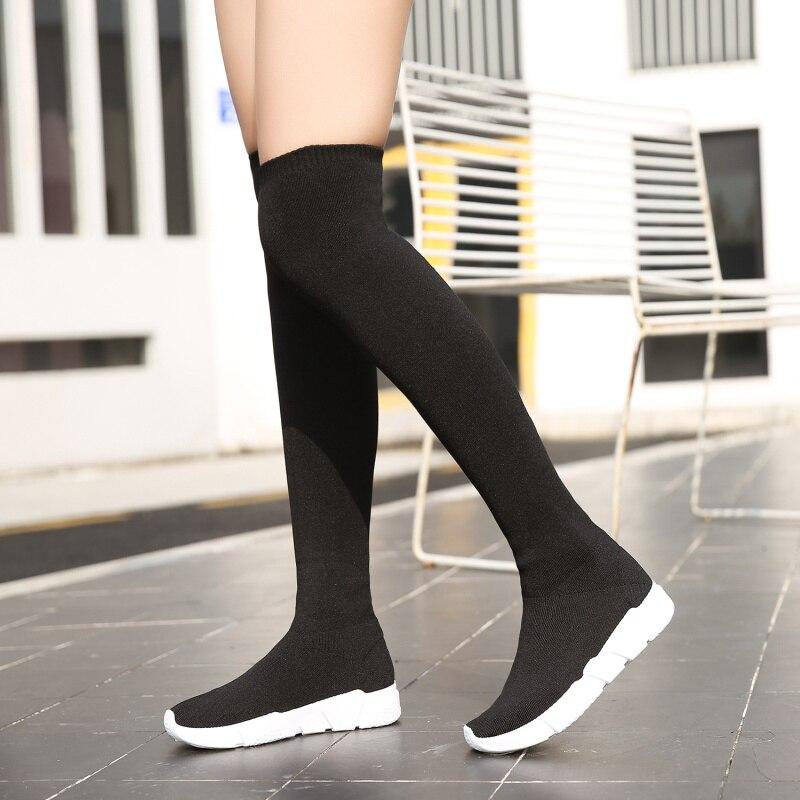 Over The Knee Women Sock Boots Platform Shoes 2019 Slip Stretch Fabric Flats Low Heel Elastic Thigh Black Fashion Socks Woman Лосины