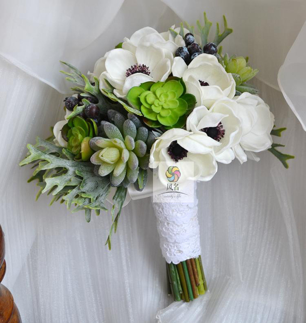 Handmade wedding bouquet wedding flower floral bridal bridesmaid handmade wedding bouquet wedding flower floral bridal bridesmaid bouquets white green artificial pu anemone bride holding mightylinksfo