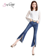Brief Relate Ripped Denim Jeans Korean Style Bell Bottoms Slim Chic Ninth Pants Tassels Edge Fashion Cropped Length Casual Wear