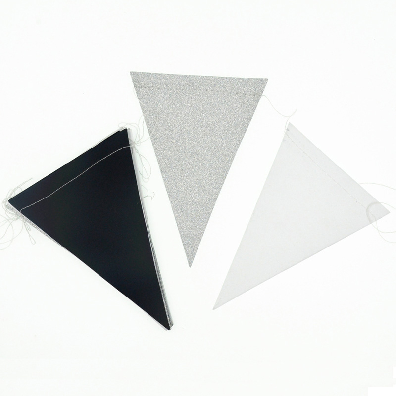 15 Pc Set Triangle Flag Home Decor Black White Gold Banners Glitter