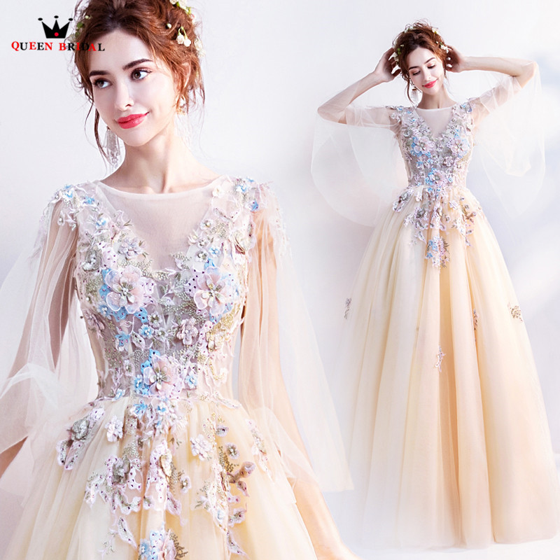 Elegant Yellow A line Tulle Lace Appliques Flowers 2019 New Evening Dresses Party Gowns Dress Evening Gown JE09-in Evening Dresses from Weddings & Events    1