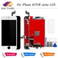 100% без битых пикселей ЖК-дисплей для iPhone 6 6s 7 8 7 Plus OEM дисплей 3D сенсорный дигитайзер предварительно собранный белый черный + инструменты зака...