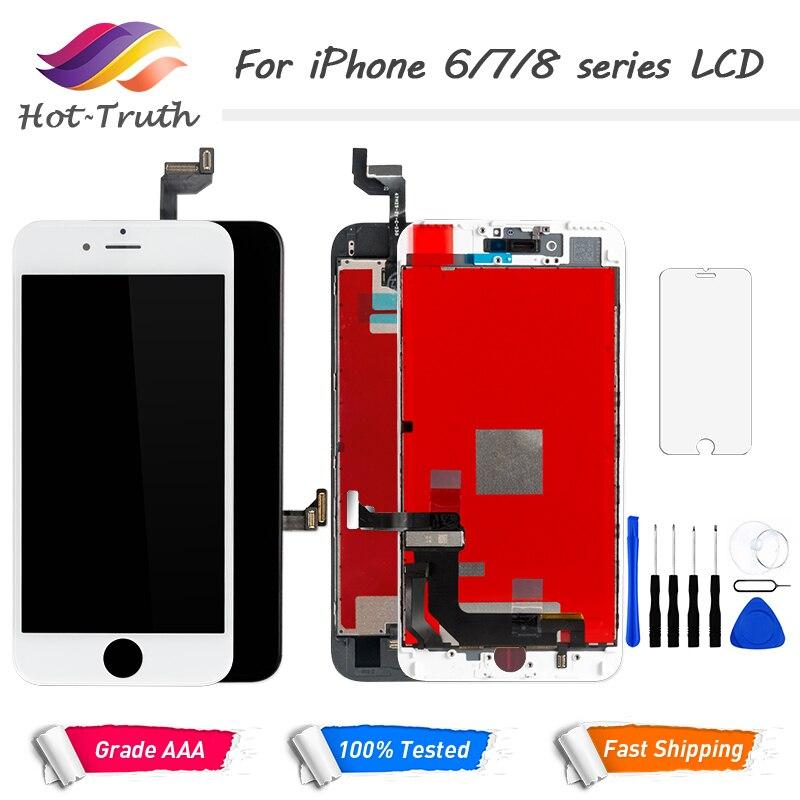 100% No LCD Dead Pixel Para iPhone 6 6 s 7 8 7 Além de Exibição OEM 3D Toque Digitador Pré -montado Branco Preto + Ferramentas de Vidro Temperado