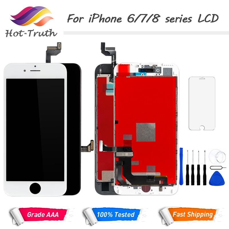 100% píxel muerto LCD para iPhone 6 6 s 7 7 7 Plus OEM pantalla 3D digitalizador táctil Pre -reunido blanco negro + herramientas de vidrio templado