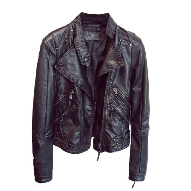 Ladies Pu Leather Jacket New 2018 Mùa Xuân Mùa Thu Áo Khoác Màu Đen Phụ Nữ Slim Moto Biker Áo Khoác Da Nữ Jaquetas Feminino