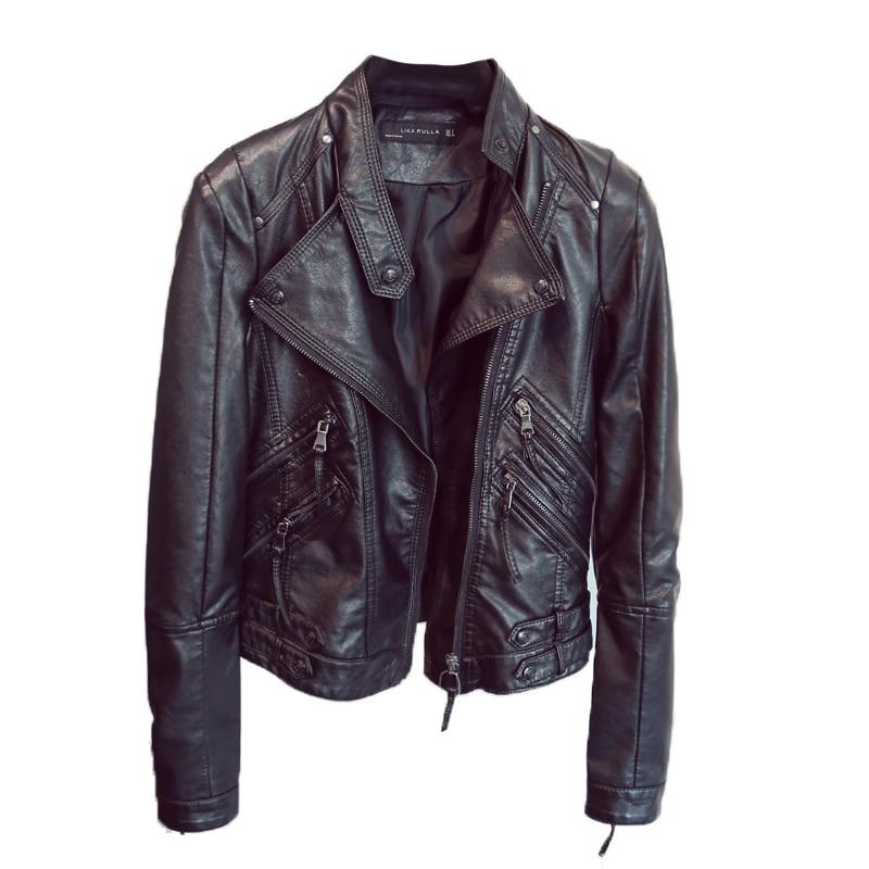 Ladies Pu   Leather   Jacket New 2018 Spring Autumn Black Jacket Women Slim Moto Biker   Leather   Jacket Female Jaquetas Feminino