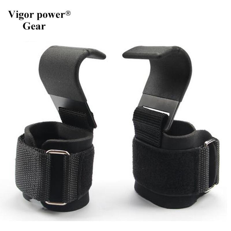 Heavy Duty PRO Metal Lifting Steel Hooks with Neoprene Padded Wrist Wraps Best Power WeightLifting Training