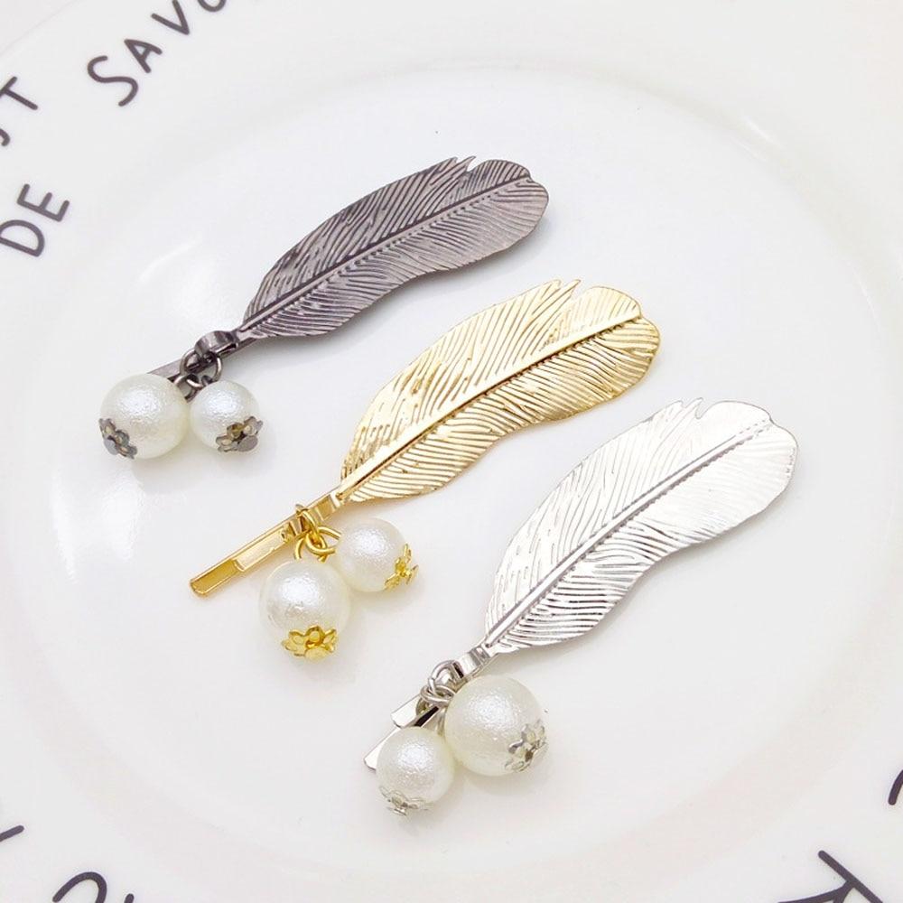 1Pc Women Girls Barrette Korean Fashion Hair Clip Hairband Hairpin Headdress Accessories Retro Leaf Feather Imitation Pearl