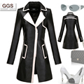 New  Women Genuine Leather Trench Medium-Long Coat Black And White Color Slim Leather Clothing Sheepskin Windbreaker Coat M-3XL