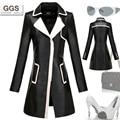 Trincheira de couro de médio longo casaco preto e branco fino couro jaqueta de pele de carneiro casaco M-3XL