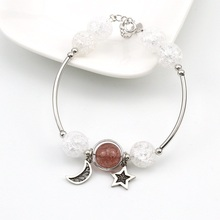 2019 New Fashion Red Pink Strawberry Crystal Star Bangle Bracelet For Women Ladies Girls Birthday Party Gifts Jewelry Wholesale недорого