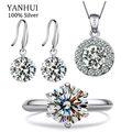 Real 100% 925 Sterling Silver Jewelry Sets For Women Big 8mm CZ Diamond Ring Necklace Earrings Bridal Wedding Jewelry Sets TZ002