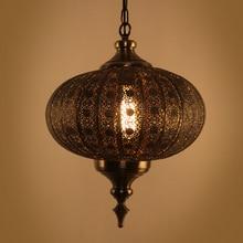 ФОТО american hollow carved retro pendant lamp southeast creative personality antique bronze lantern pendant light free shipping