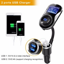 Bluetooth Car Kit FM Modulator Bluetooth FM Transmitter Aux In Handsfree Car MP3 Player 5V 3.4A 2-USB Charger with TF Card Slot