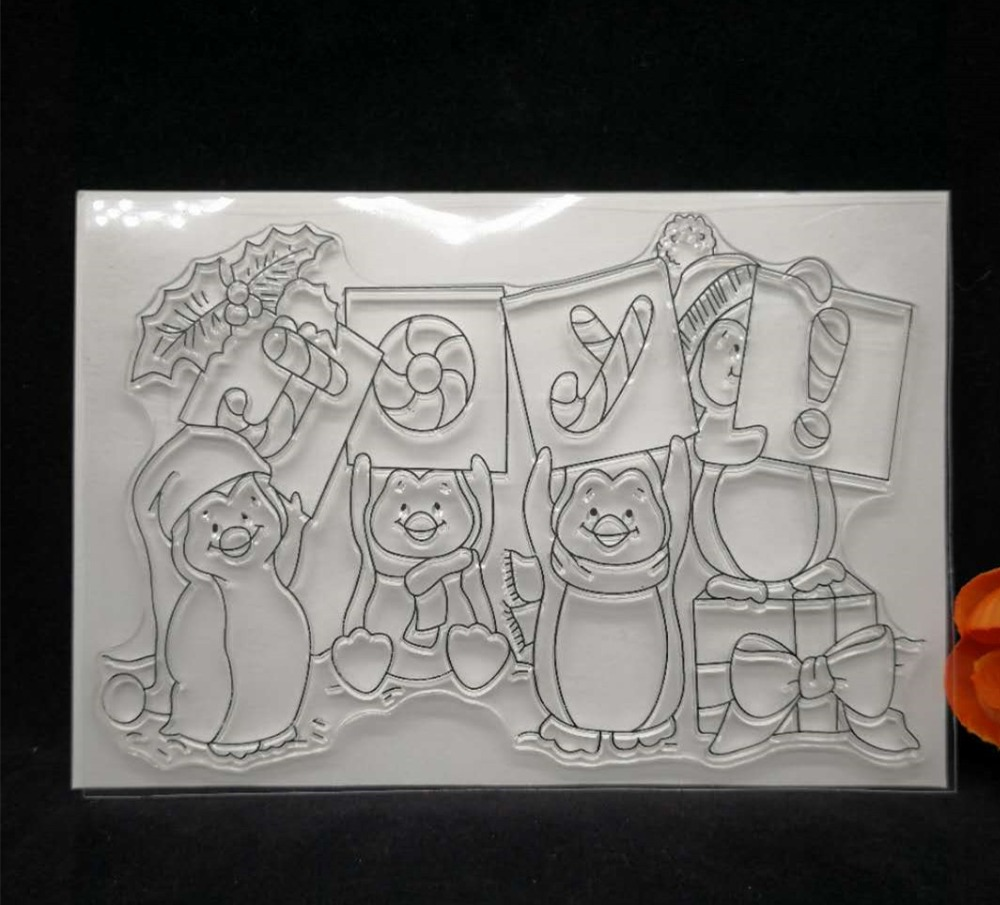 Christmas penguins Transparent Clear Silicone Stamp/Seal for DIY scrapbooking/photo album Decorative clear P33 about loving heart design transparent clear silicone stamp for diy scrapbooking photo album clear stamp christmas gift ll 278