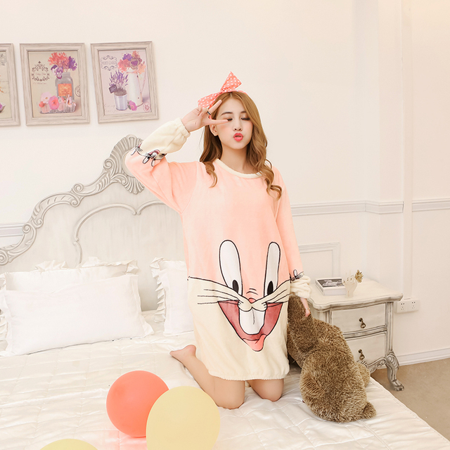 Winter Bugs Bunny Flannel Nightgowns For Women Home Dress Cute Girls ...
