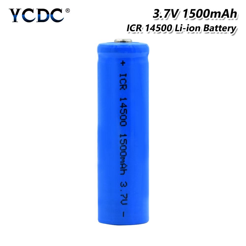 Аккумуляторная батарея ICR 14500, 3,7 в, 1500 мАч, литиевая зарядка, литий-ионный аккумулятор для фонарика, игрушки, вентилятор