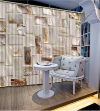 Photo Customize size marble Curtains for living room  Window Curtains For Bedding room