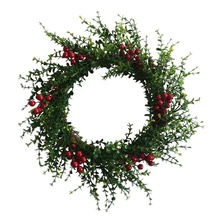 17 дюймов искусственные зеленые листья эвкалипта красный ягодный венок передней двери украшения Рождественская гирлянда для двери