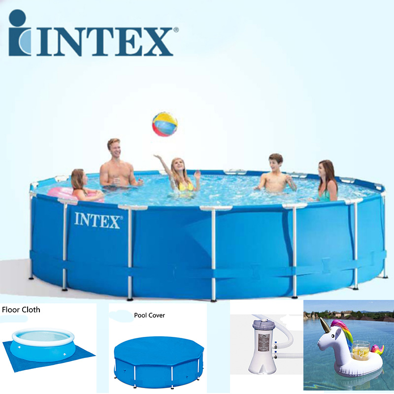 все цены на INTEX 305*76 cm Round Frame Above Ground Pool Set Pipe Rack Pond Family Swimming Pool Filter Pump Pool Cover For Summer B32001 онлайн
