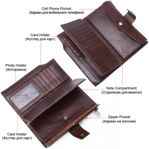 Image 4 - GENODERN Business Men Wallet Clutch Genuine Leather Organizer Purse Brand Male Money Bag Cell Phone Bag Long Zipper Clutches