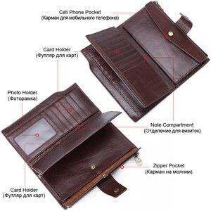 Image 4 - Genodern negócios homens carteira de embreagem couro genuíno organizador bolsa marca masculino saco de dinheiro celular longo zíper garras