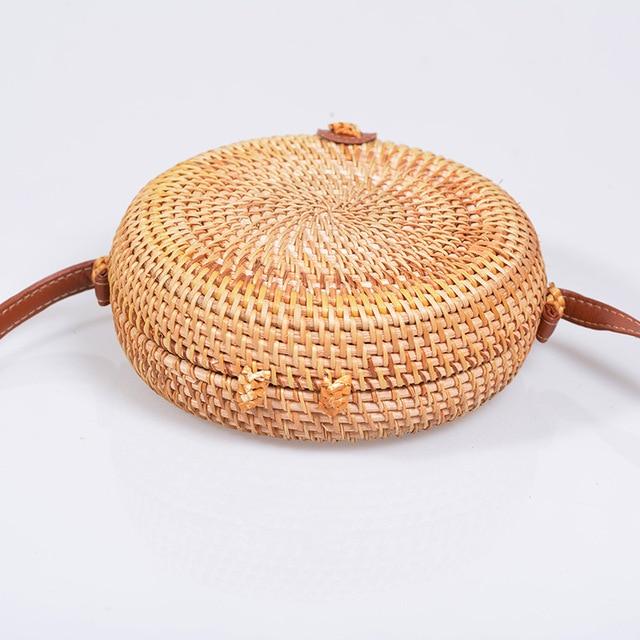 Vintage Handmade Rattan Woven Shoulder Bags PU Leather Straps Bow Hasp Holiday Beach Crossbody Bag Messengers Women Handbag 2