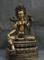 Details about 15 Tibet Mahayana Buddhism Purple Bronze Gilt Seat Green Tara Goddess Statue