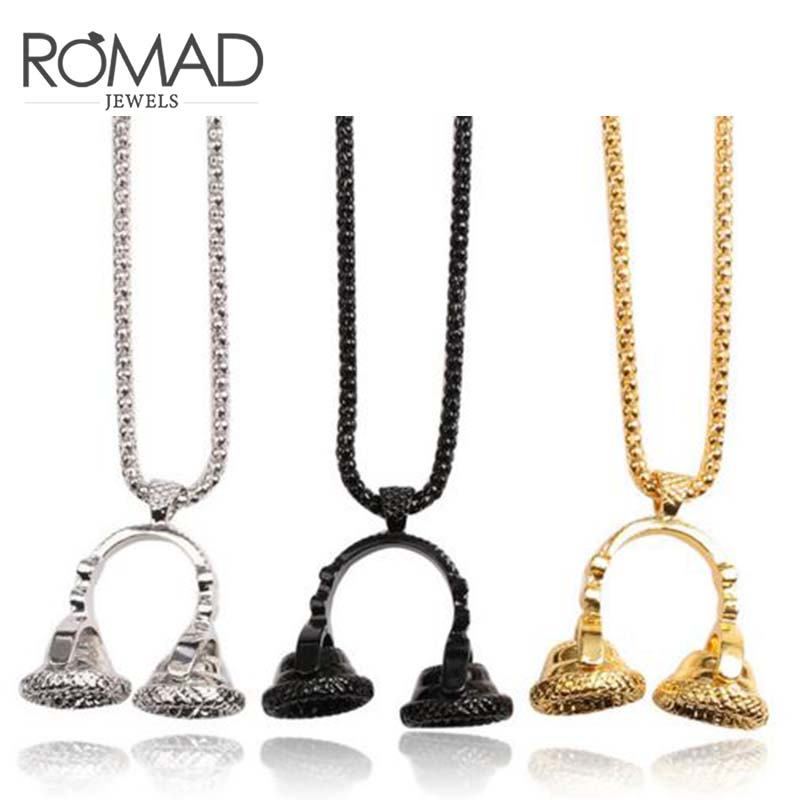 Roamd Music DJ Headphone Pendant Necklaces Stainless Steel Chain Men Women Hip Hop Jewelry Rock Headset Necklace Music Lovers R4