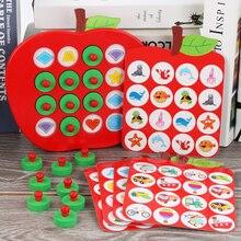 Montessori maçã memória correspondência xadrez de madeira crianças cedo brinquedos educativos jogos da família é bons quebra cabeças para presentes das crianças