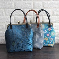 23*25*9cm Retro Cotton Canvas Mouth Gold Frame Handbags Material Kit Reticule Bag with Kissing Lock, PU leather Belt