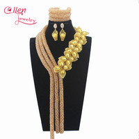 2017 Luxury gold Nigerian wedding bridal beads necklace African accessories beads jewelry sets dubai beaded jewelry sets W13304