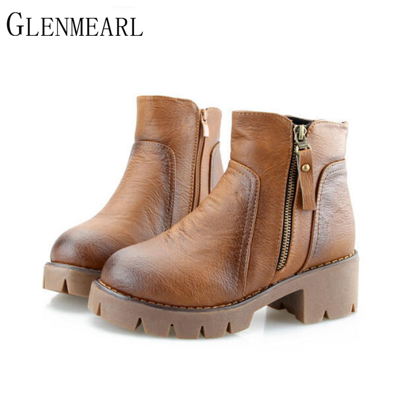 2018 New Winter Women's Boots Thick With Round Black Brown Gray Boots Zipper Platform Women Shoes Heavy-bottomed Ankle Boots ZK4 armoire hot sales black yellow red brown gray flats women slouch ankle boots solid ladies winter nude shoes aa 3 nubuck
