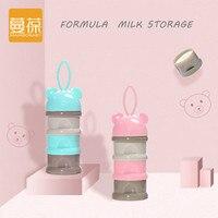 Портативный дозатор формулы молочного порошка, контейнер для хранения еды, миска для кормления малышей, для маленьких детей, трехсетчатый к...