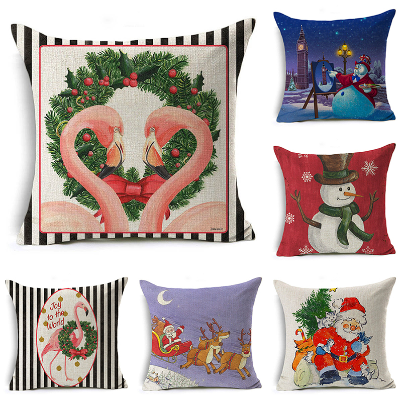 Nordic Christmas Pillow Cover Santa Claus Flamingo Letter Cushion Cover Decorative Throw Pillow Case Sofa Home Decor almofadas