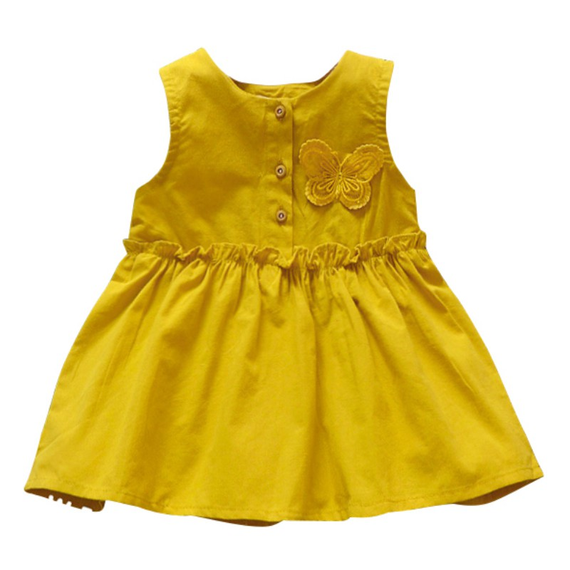 Baby Girl Clothes Summer Sleeveless Butterfly Dress For Girl Newborn Baby Dress Cotton Cute Pink Girl Dress