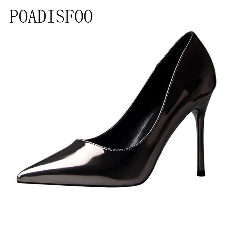 High Heel Shallow Mouth Pointed Sharp Sexy Style Simple Thin With OL women's Shoes High Heels .PSDS-9196-1 new fashion club pointed shoes simple metal hollow shallow mouth ol fine with sandals women high heels