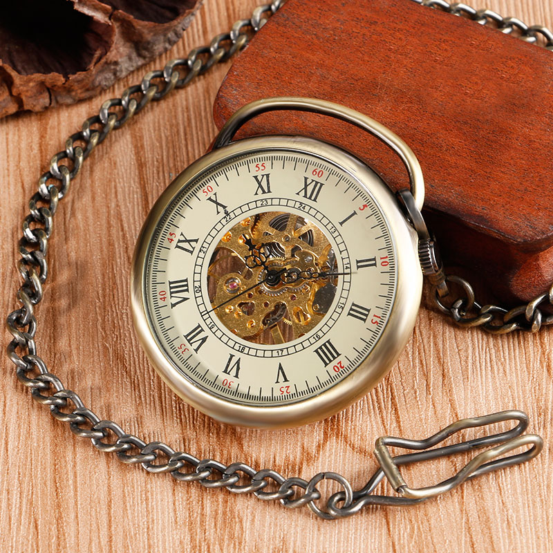 Vintage Open Face Roman Number Skeleton Hand Wind Mechanical Pocket Watches Pendant Chain Steampunk Fob Watch for Christmas Gift roman numerals skeleton watches steampunk pocket watch with chain 2 sides open case luxury brand mechanical pocket watch