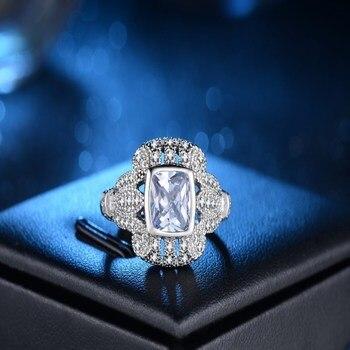 54771b0c3e8c 2019 blanco Cubic Zircon anillos de boda para las mujeres de Color de plata
