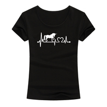 Heartbeat Of Unicorn Print T-shirt Cotton Women Summer Casual Funny T Shirt For Lady Girl Harajuku Short Sleeve Tops Tee