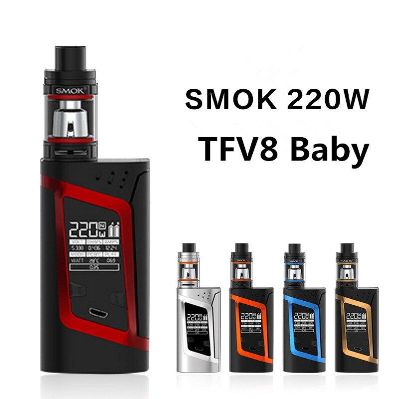 Original SMOK ALIEN Kit 220W Box Mod 3ml TFV8 Baby Tank Atomizer electronic cigarette vape Kit original smok alien 220w tc box mod