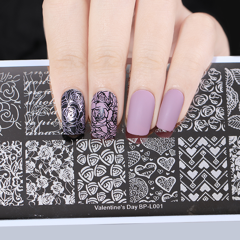 BORN PRETTY Nail Stamping Plates Rectangle Line Rose Layer Manicure ...