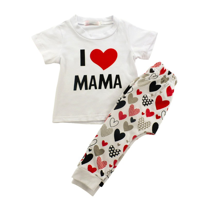 Children Clothing New Summer Love Mom Dad Pattern Short Sleeve Pants 2PCS Sets Clothes For Girls Boys Casual Cotton Baby Clothes
